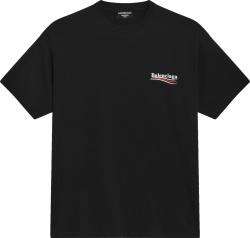 Balenciaga Black Political Campaign Logo T Shirt