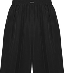 Balenciaga Black Satin Long Pajama Shorts