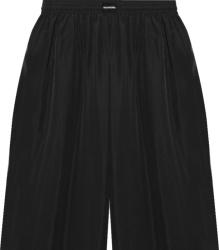 Balenciaga Black Satin Long Pajama Shorts
