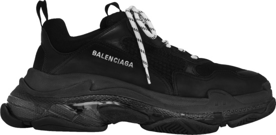 Balenciaga Black Triple S Sneakers With Clear Layered Sole