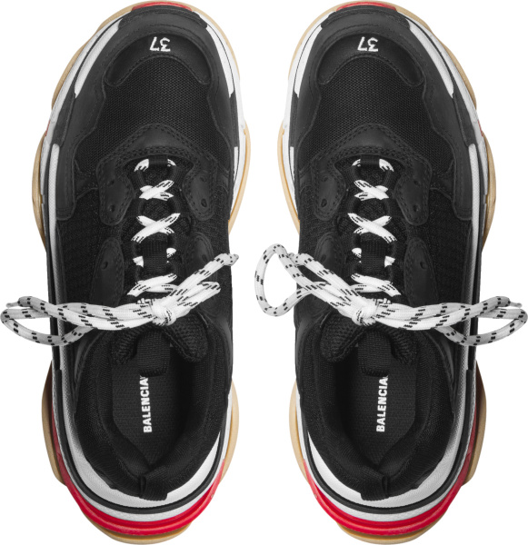 Balenciaga Black White And Red Triple S Sneakers