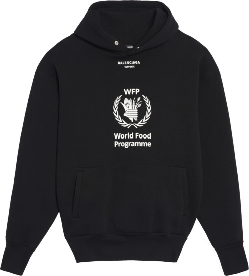 Balenciaga World Food Programme Print Black Hoodie Incorporated Style
