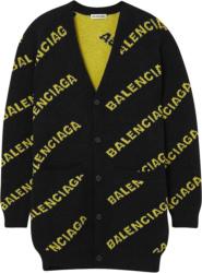 Balenciaga Black Yellow Log Jacquard Cardigan