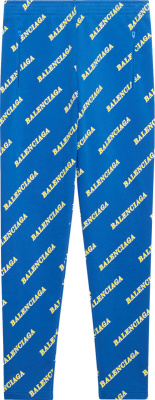 Balenciaga Blue Allover Logo Print Sports Joggers