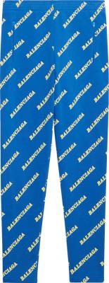 Balenciaga Blue Allover Logo Print Sports Joggers
