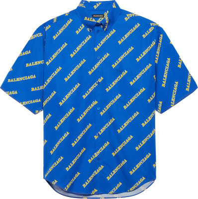 Balenciaga Blue Allover Logo Print Sporty Shirt