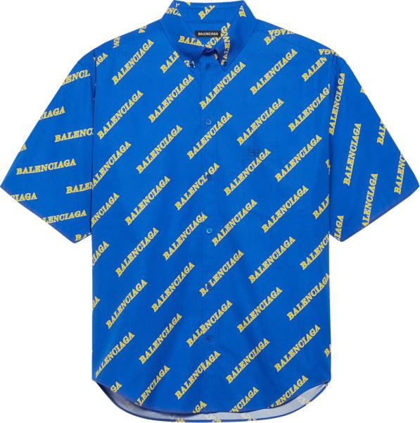 Balenciaga Blue Allover Logo Print Sporty Shirt