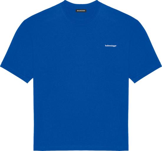 Balenciaga Blue Corporated Logo Print T Shirt