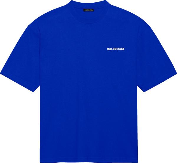 Balenciaga Blue Logo Print T Shirt