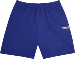 Balenciaga Blue Political Logo Shorts
