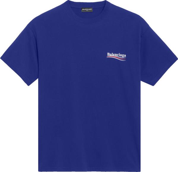Balenciaga Blue Political Logo T Shirt