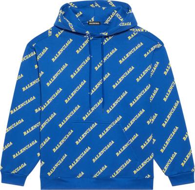 Balenciaga Blue Yellow Allover Logo Print Sporty Hoodie