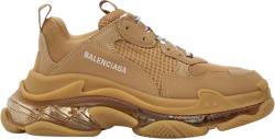 Balenciaga Brown And Clear Sole Triple S Sneakers