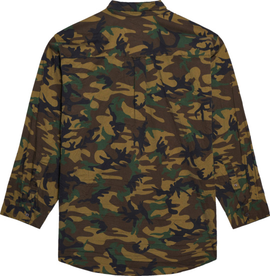 Balenciaga Brown Green And Beige Oversized Camouflage Shirt
