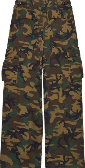 Balenciaga Brown Green And Beige Wide Leg Pants