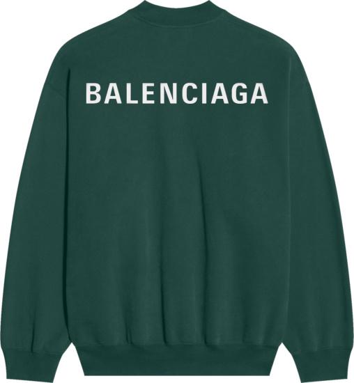 Balenciaga Dark Green Back Logo Print Sweatshirt