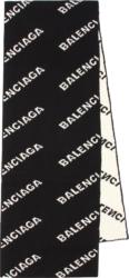 Balenciaga Diagonal Logo Jacquard Black Scarf