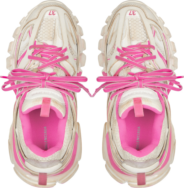 Balenciaga Dirty White And Pink Track Sneakers