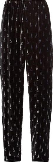 Balenciaga Eiffle Tower Black Velour Pants