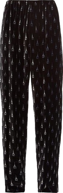 Balenciaga Eiffle Tower Black Velour Pants