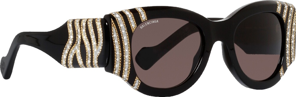 Balenciaga Embellished Stripe Black Cat Eye Sunglasses