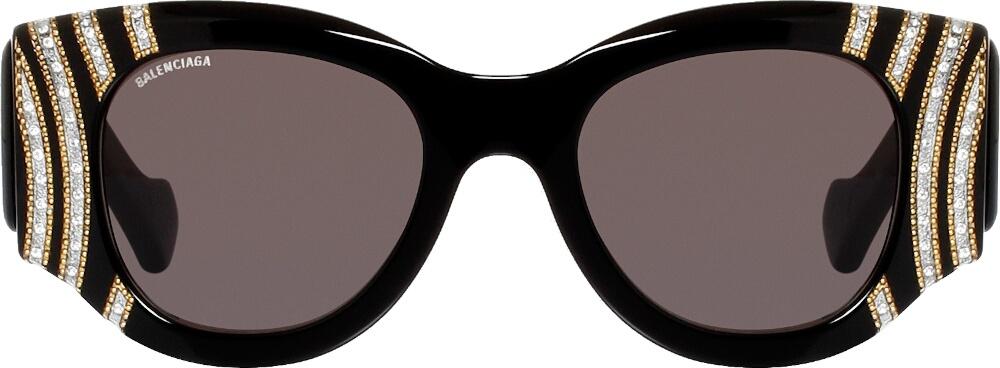 'Paris Cat' Embellished Black Sunglasses