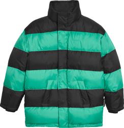 Balenciaga Green Black Striped Puffer Jacket