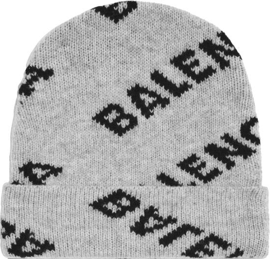 Balenciaga Grey And Black Diagonal Logo Beanie