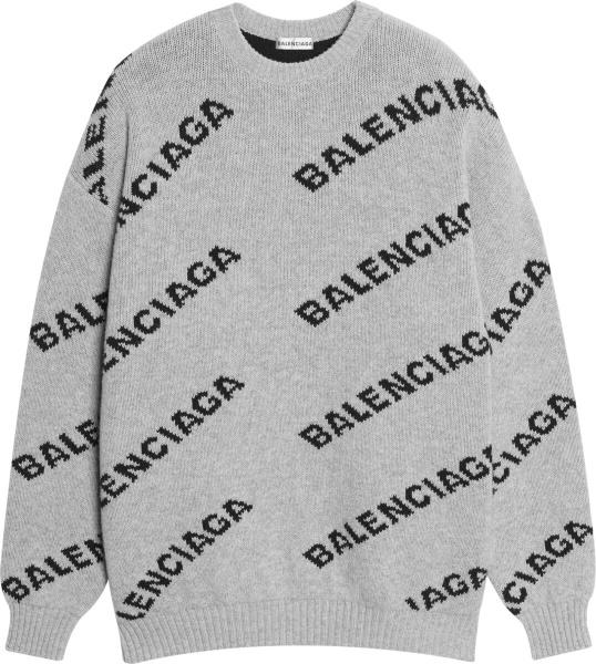 Balenciaga Grey And Black Logo Jacquard Sweater