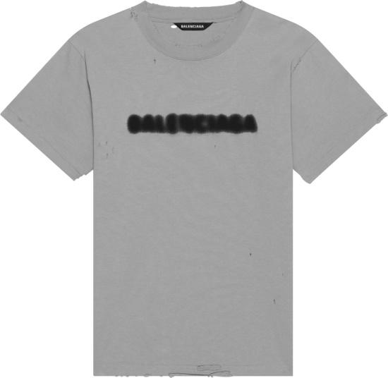 Balenciaga Grey Blurry Logo Print Oversized T Shirt
