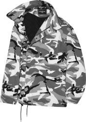 Balenciaga Grey Camouflage Off The Shoulder Parka Coat
