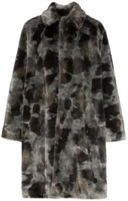 Balenciaga Grey Fur Patch Coat