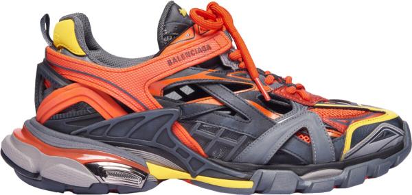 Balenciaga Grey Orange Yellow Triple S Sneakers