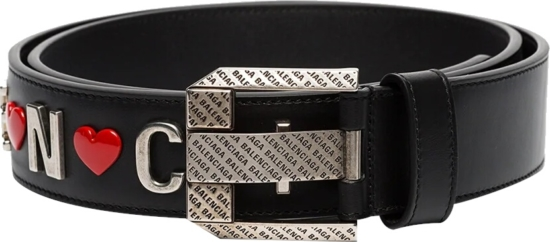 Balenciaga Heart Embellished Black Leather Belt