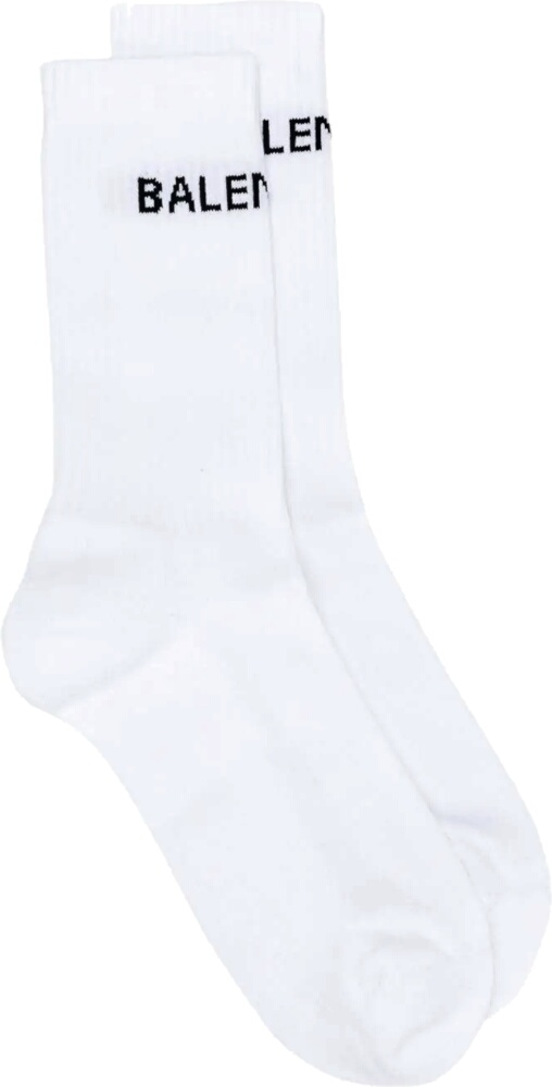 Balenciaga High Logo Knit White Socks