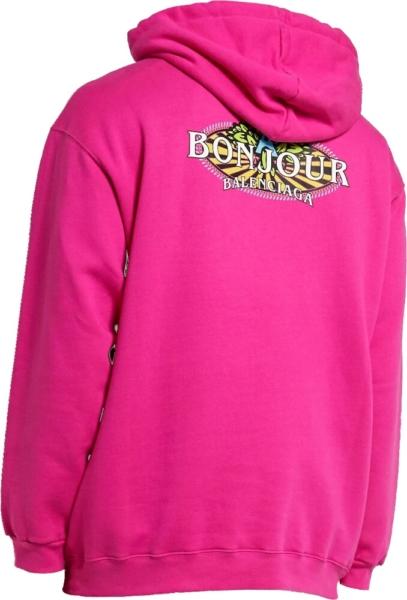 Balenciaga Logo Print Pink Hoodie