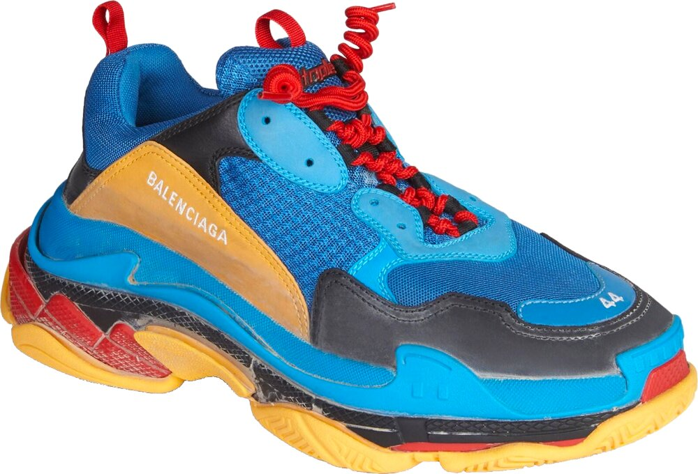 Balenciaga Neon Blue And Orange Triple S Sneakers