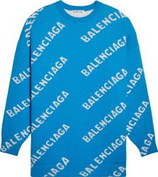 Balenciaga Neon Blue And White Diagonal Logo Sweater