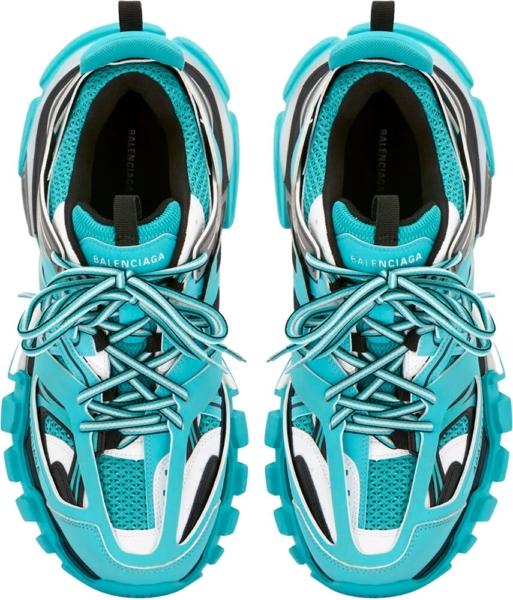 Balenciaga Neon Blue Track Trainers