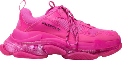 Neon Pink & Clear Sole 'Triple S' Sneakers