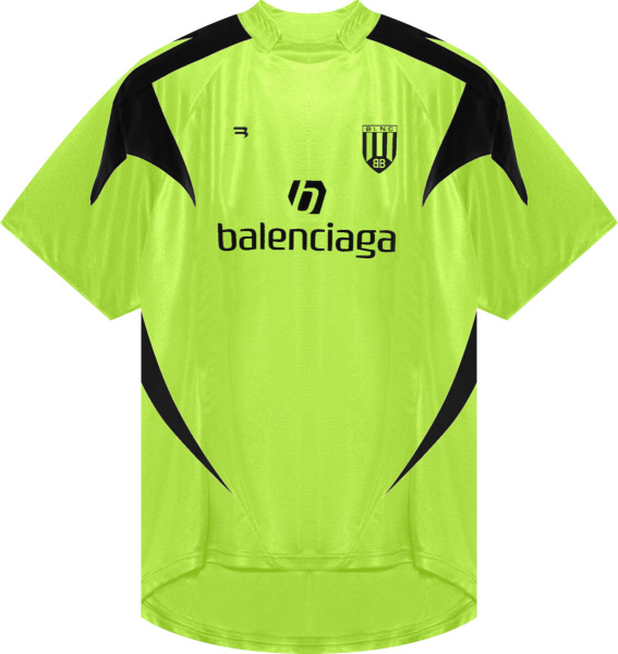 Balenciaga Neon Yellow And Black Short Sleeve Soccer Jersey