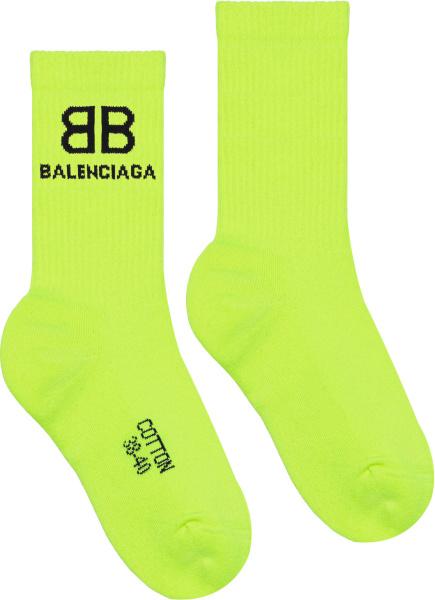 Balenciaga Neon Yellow Bb Corporated Logo Socks 6569674a8b47200
