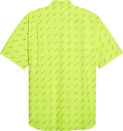 Balenciaga Neon Yellow Diagonal Alllover Black Logo Shirt