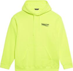 Balenciaga Neon Yellow Political Logo Print Hoodie