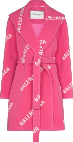 Balenciaga Pink And Allover White Diagonal Logo Coat