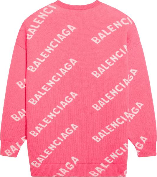Balenciaga Pink And White Allover Diagonal Logo Sweater