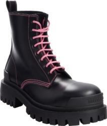 Balenciaga Pink Lace Up Black Combat Boots