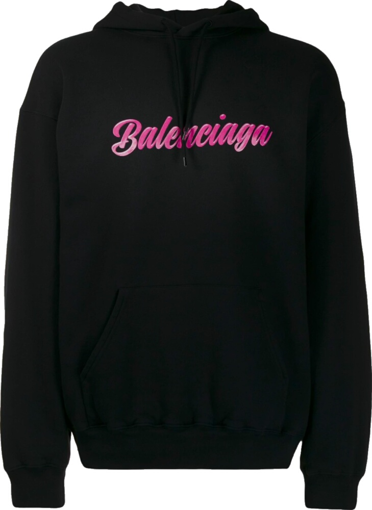 Balenciaga Pink Logo Print Black Hoodie