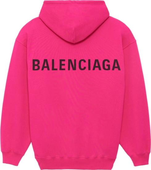 Balenciaga Pink Logo Print Hoodie