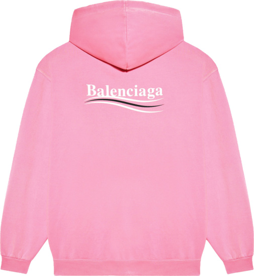 Balenciaga Pink Political Logo Print Hoodie